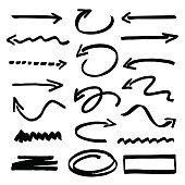 Group of various types of vector black arrows