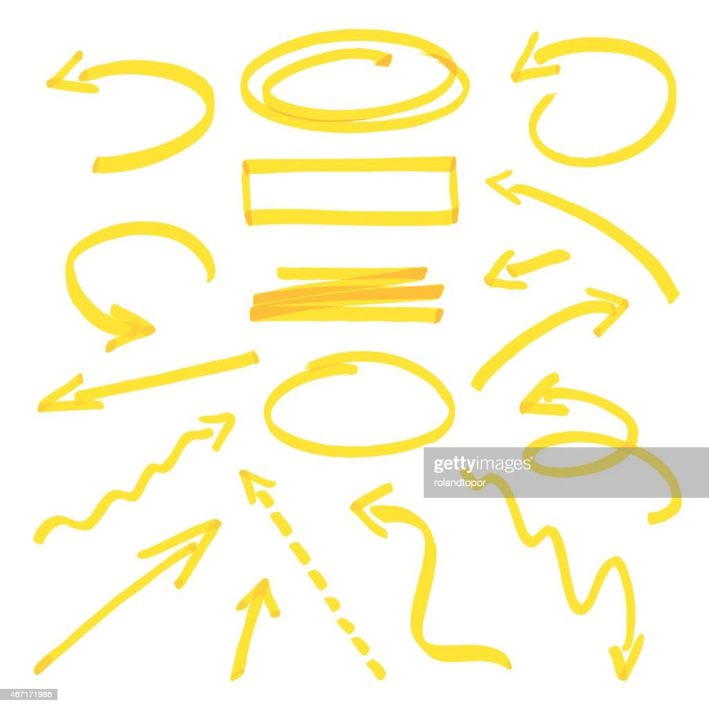 Group of vector yellow arrows