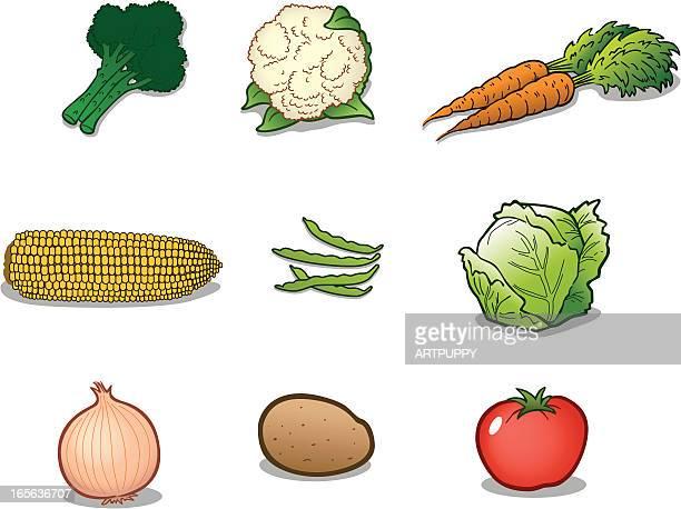 group of vegetables - cauliflower stock illustrations, clip art, cartoons, & icons