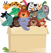 group of wild animals in cartons