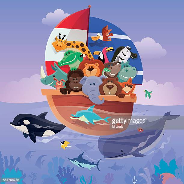 group of wild animals sailing