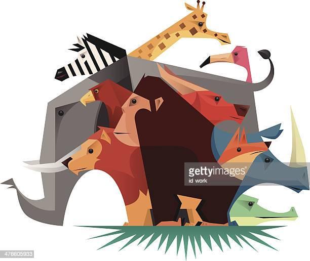 gruppe von wilden tieren - chimpanzee stock-grafiken, -clipart, -cartoons und -symbole