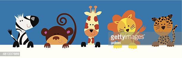ilustraciones, imágenes clip art, dibujos animados e iconos de stock de grupo de animales salvajes - jaguar