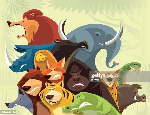 group of wild animals - african buffalo stock illustrations, clip art, cartoons, & icons