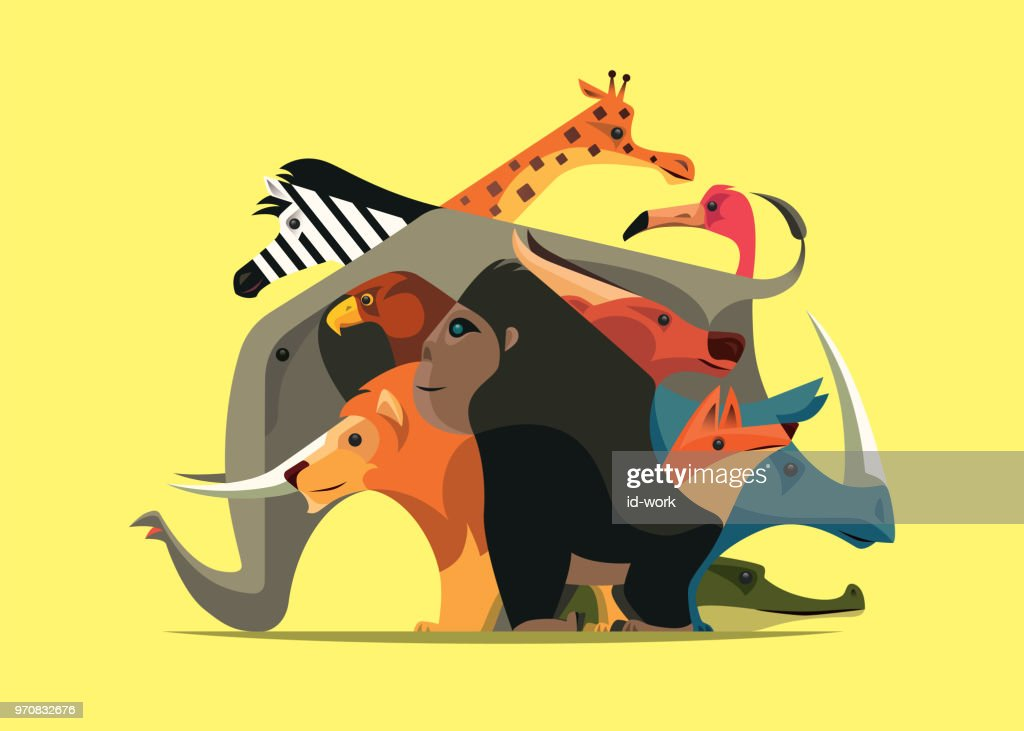 group of wild animals : stock illustration