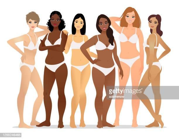 下着を着る女性のグループ - 皮膚点のイラスト素材/クリップアート素材/マンガ素材/アイコン素材