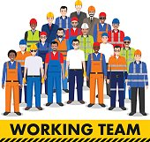 Group of worker, builder and engineer standing together on white background in flat style. Working team and teamwork concept. Different nationalities and dress styles. Flat design people characters.