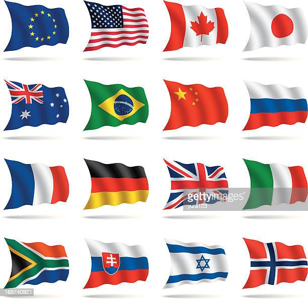 a group of world flags on a white background - italy vs norwegian stock illustrations