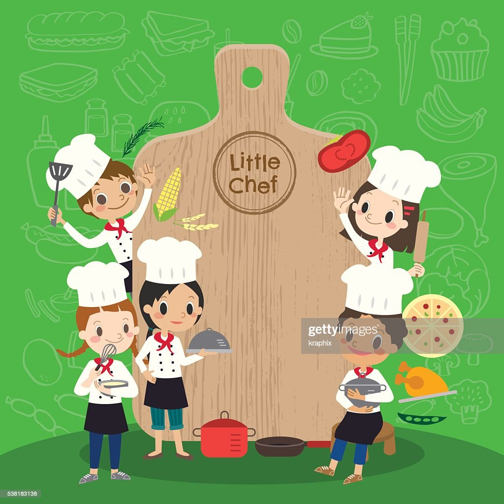 group of young chef with chopping block children kids cartoon