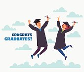 Group of young graduates with diploma jumping on white background with copy space