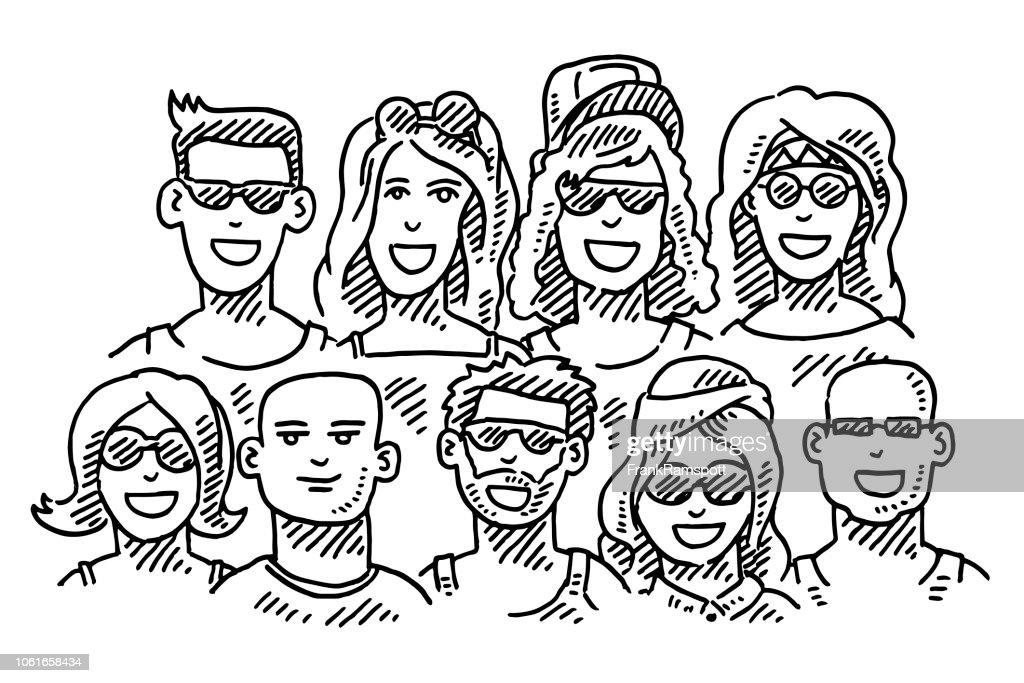 Gruppe von jungen Leuten im Sommer Zeichnung : Vektorgrafik