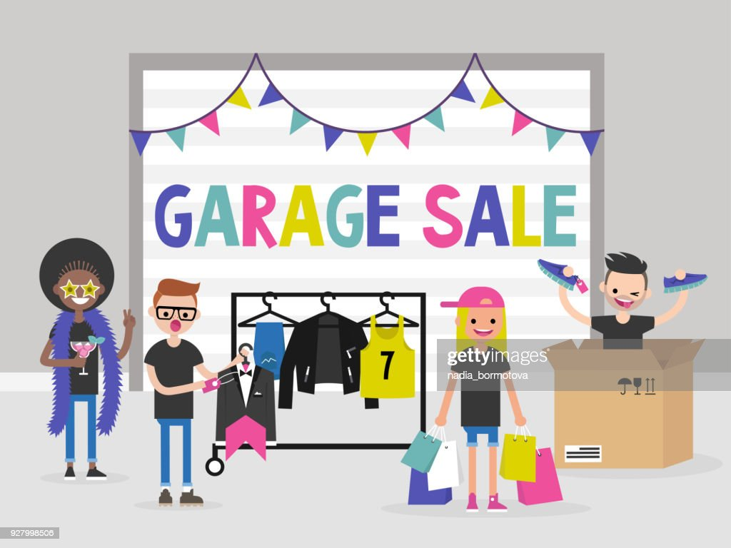 A group of young people selling and buying  things at the garage sale. Fashion. Flat editable vector illustration, clip art