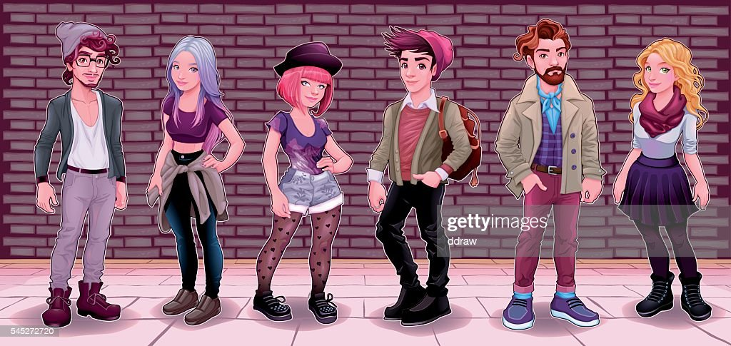 Group of young people with underground background