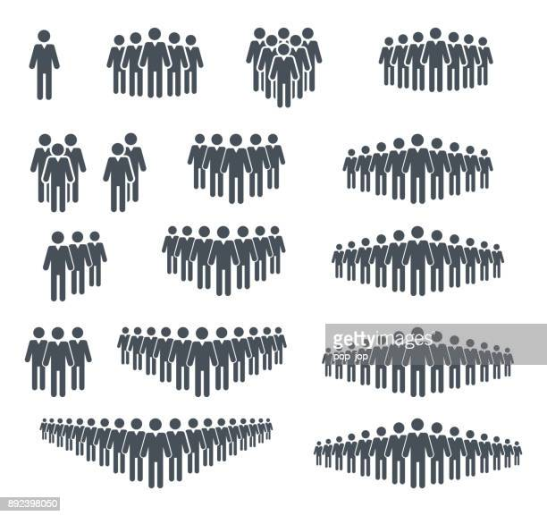 group og people icon set. crowd signs. vector illustration. isolated on white background - employee stock illustrations