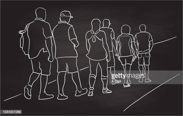 group path walk - heterosexual couple stock illustrations, clip art, cartoons, & icons