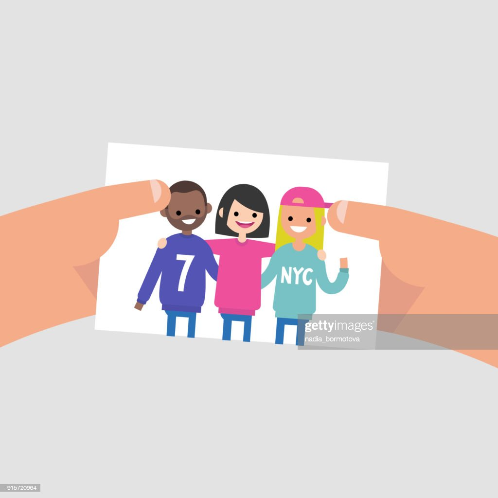 Group photo of international friends. Flat editable vector illustration, clip art. Lifestyle. Millennials. Teenagers wearing bright clothes.