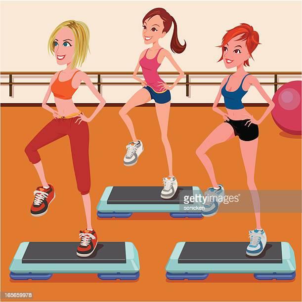 group step class - aerobics class stock illustrations, clip art, cartoons, & icons