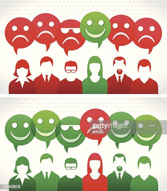 Group with happy and unhappy thought bubbles
