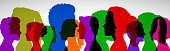 Group young people. Profile silhouette faces girls and boys – for stock