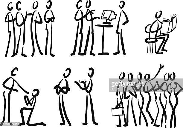 Groups of people interacting
