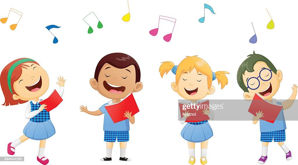 groups of school children singing in choir