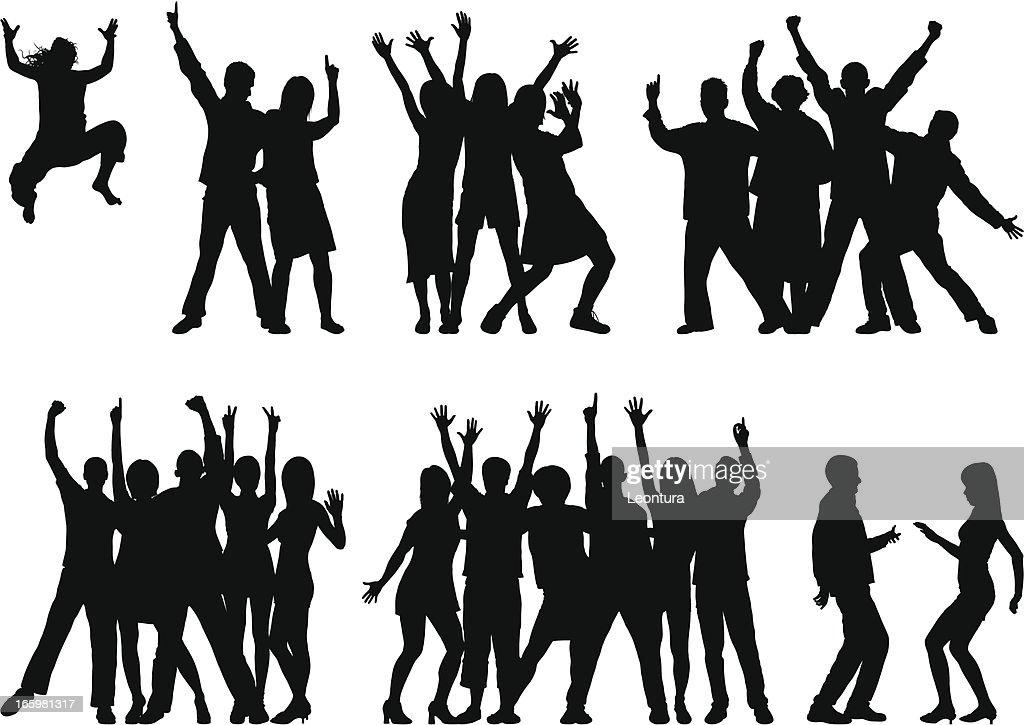 Los grupos (23 móviles y completar personas) : Ilustración de stock