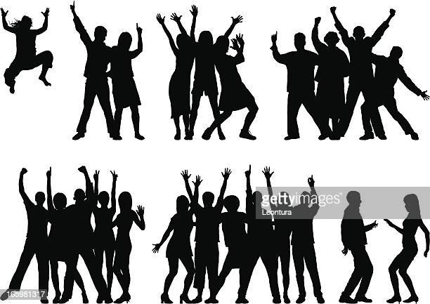 groups (23 moveable and complete people) - dancing stock illustrations, clip art, cartoons, & icons