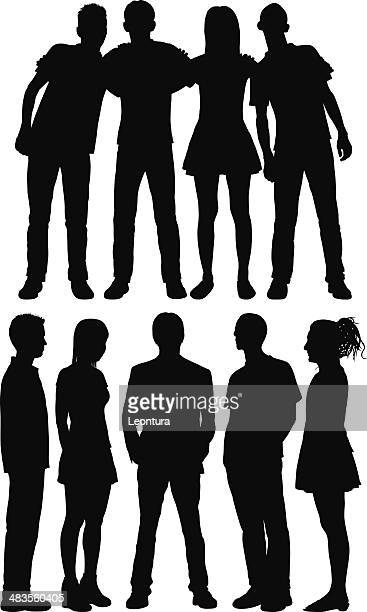 groups - arm in arm stock illustrations, clip art, cartoons, & icons