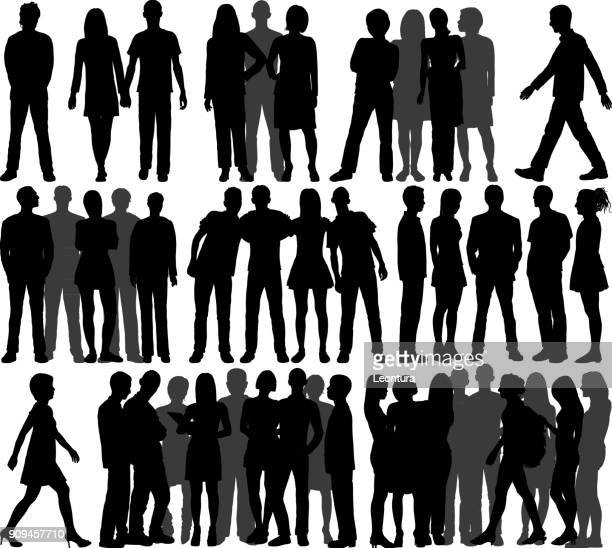 groups (all people are complete and moveable) - small group of people stock illustrations