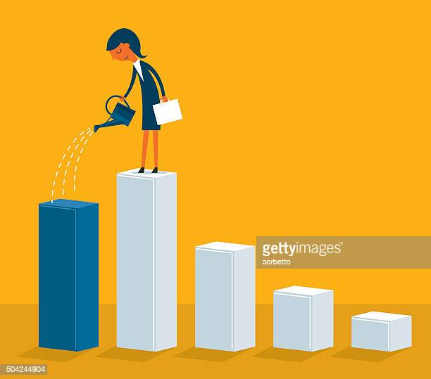 growing business - watering can stock illustrations