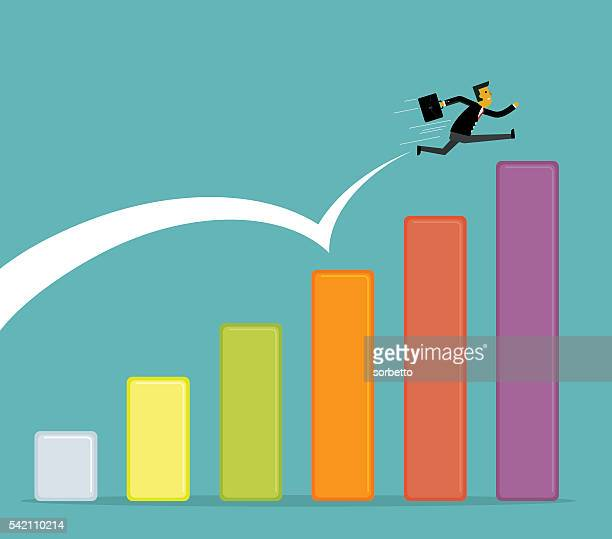 growing business - long jump stock illustrations