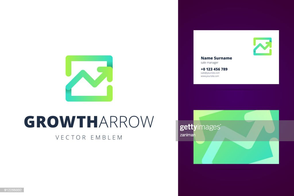 Growing chart emblem and business card template.