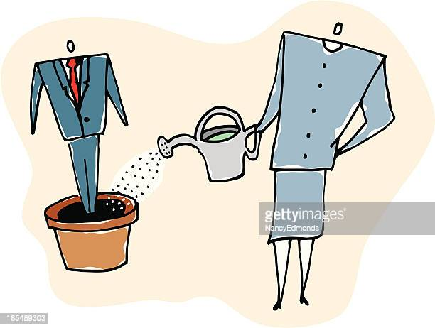 growing employee - landscaper professional stock illustrations, clip art, cartoons, & icons