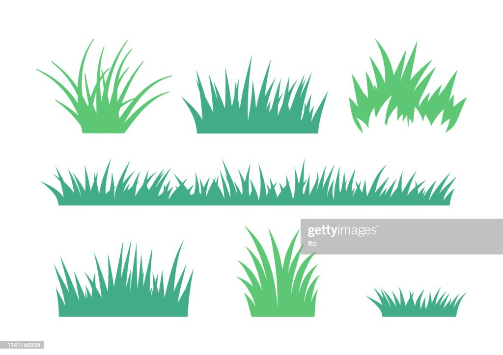 Growing Grass and Cultivated Lawn Silhouettes and Symbols : Stock Illustration
