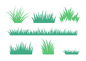 Growing Grass and Cultivated Lawn Silhouettes and Symbols