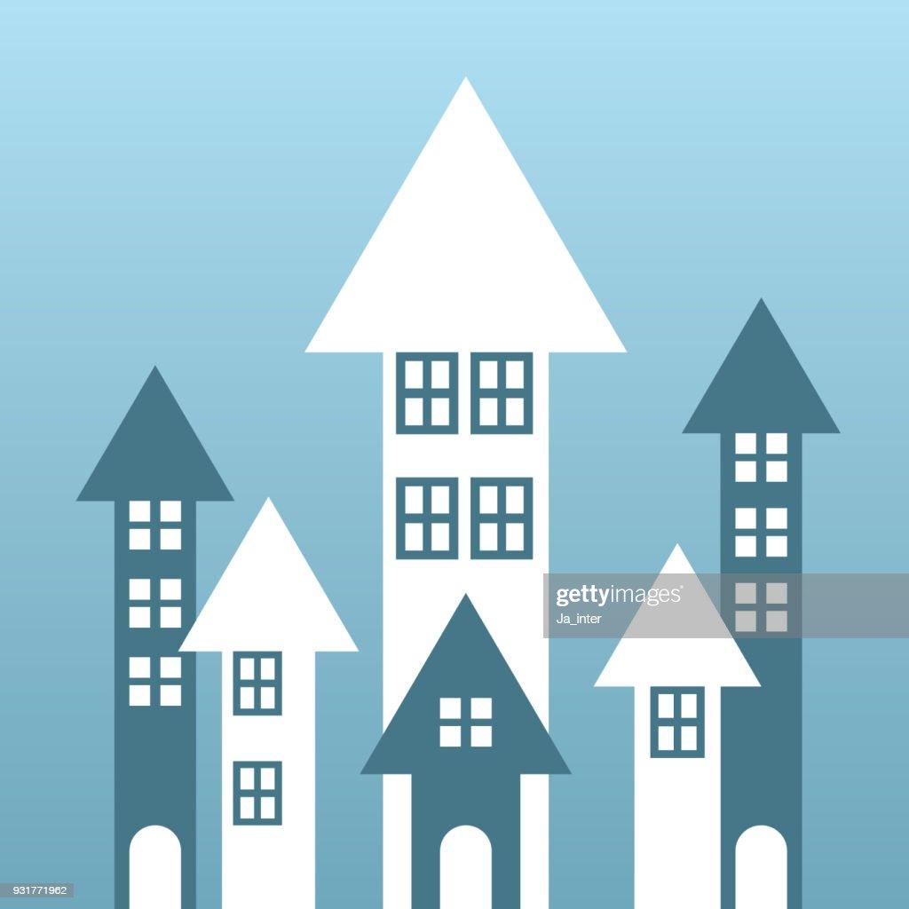 Crecimiento de casa de flechas : Ilustración de stock