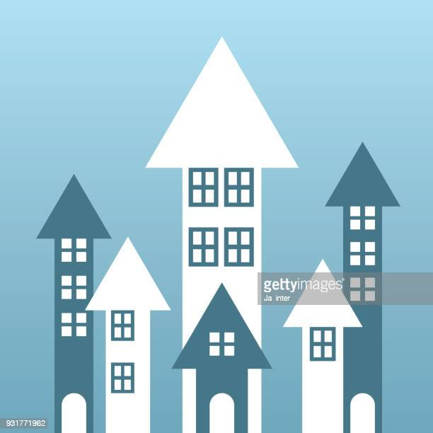 growing house arrows - consumerism stock illustrations
