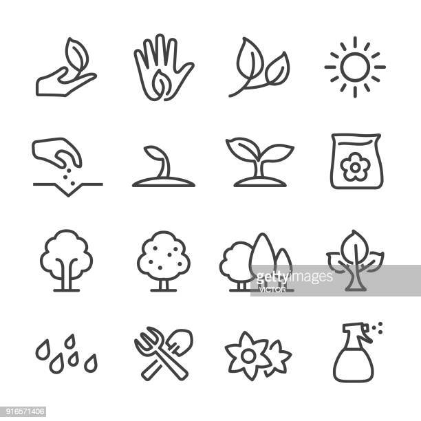 growing icons - line series - watering can stock illustrations