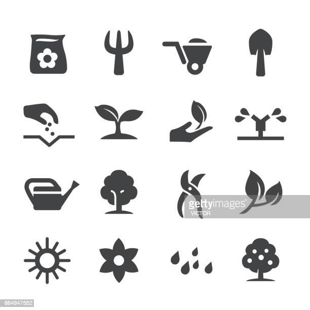 growing icons set - acme series - garden fork stock illustrations