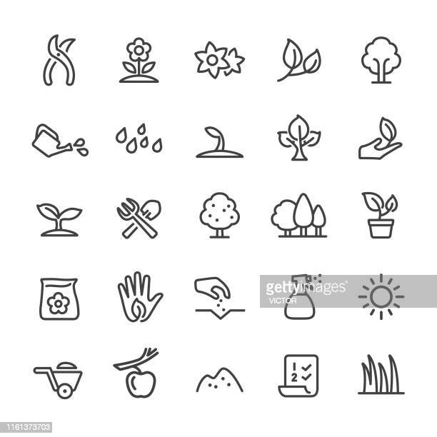 growing icons - smart line series - garden fork stock illustrations