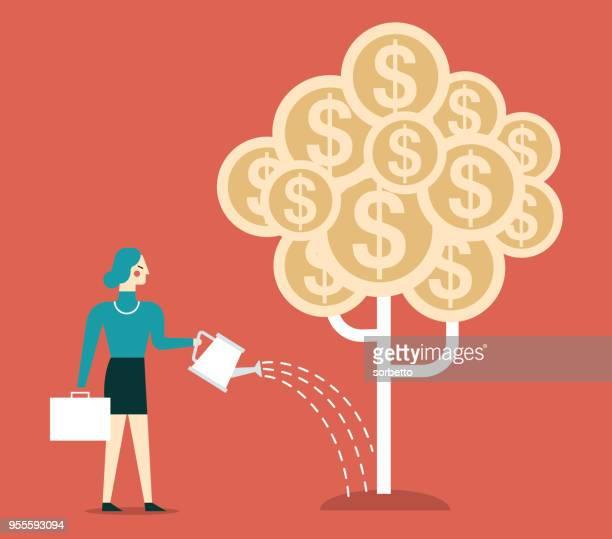 growing money - businesswoman - landscaper professional stock illustrations, clip art, cartoons, & icons