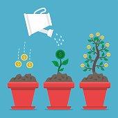 Growing money on blue