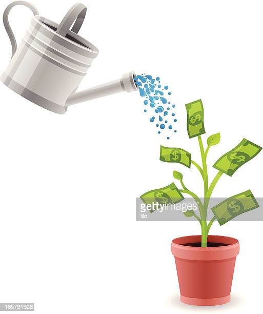 growing money - watering can stock illustrations, clip art, cartoons, & icons