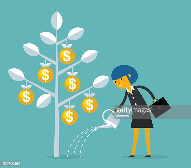 growing money - watering can stock illustrations