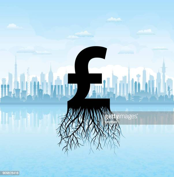growing pounds (all buildings are complete and moveable) - brexit stock illustrations, clip art, cartoons, & icons