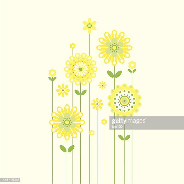 growing retro spring flowers - plant stem stock illustrations, clip art, cartoons, & icons