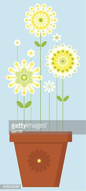 成長する明るい花に植物のポット