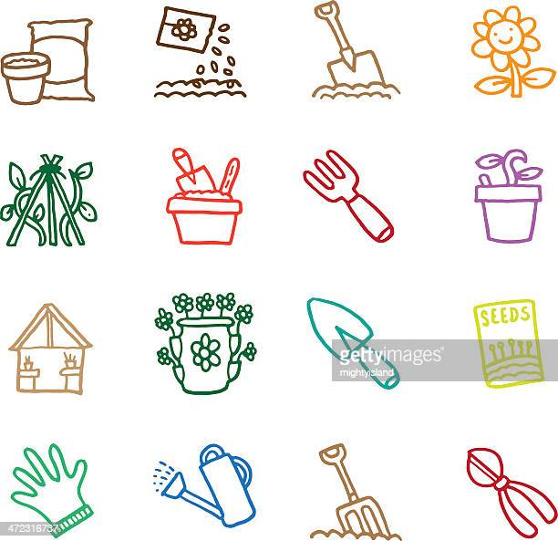 Growing things in the garden icon set