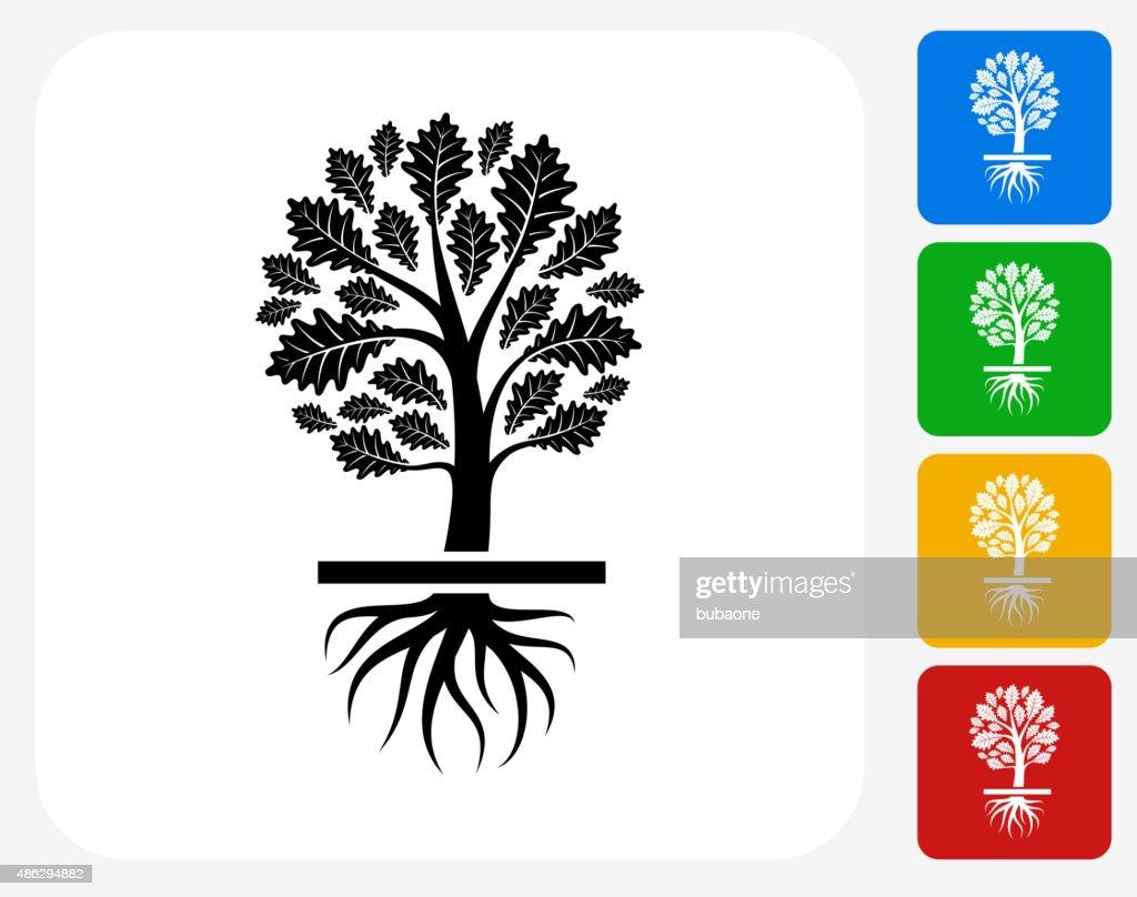 Growing Tree Icon Flat Graphic Design