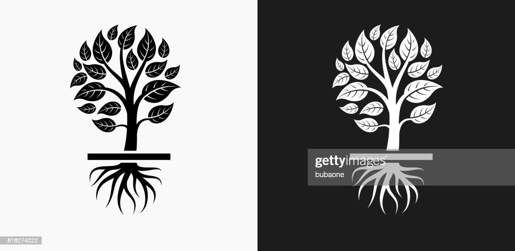 Growing Tree Icon on Black and White Vector Backgrounds : stock illustration